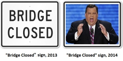 "As as result of the Washington bridge traffic scandal, the ""Bridge Closed"" sign has been redesigned."