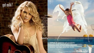 Milk advertising then and now: Taylor Swift in a Got Milk? ad, and... I don't even know what this is now. Taylor Swift is already working on a song about being dumped by the milk industry.