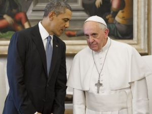 President Barack Obama is unsure whether he should bow to the Pope and get criticized for apologizing for America, or not bow to the Pope and get criticized for disrespecting the Catholic Church. (Image source: USA Today)