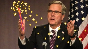 Jeb Bush using a magic wand to fix the Constitution and to make the U.S. Gross Domestic Product grow at 4% as he promised earlier.