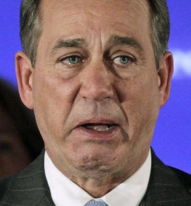 Outgoing Speaker John Boehner is just so happy that he won't have to do this crappy job anymore.
