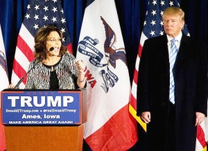 Donald Trump stands visibly uncomfortable while getting endorsed by Sarah Palin, because endorsement by Sarah Palin is probably like your own conception: you want it to happen, but don't want to be there when it happens.