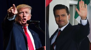 In response to Trump's usual demand to pay for the wall, President Nieto suggested Trump should talk to his hand. Image source: CNN